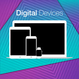 Modern digital devices sets geometric background Stock Images