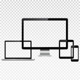 Modern digital devices with transparent screen mockup. Set of modern technology devices template for responsive design presentation. Mockup consist of laptop Royalty Free Stock Photography
