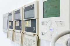 Modern digital electronic thermostat, climate control system. Stock Photo