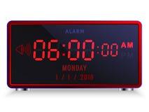 Modern digital LEDD ringklocka med kalendern vektor illustrationer