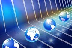 Modern digital platform with earth globes Royalty Free Stock Photo