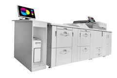Modern Digital printing machine isolated on white. Clipping path included in file royalty free stock photography