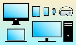 Modern digital screens color icons isolated set royalty free illustration