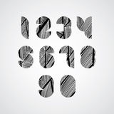 Modern digital shaped stylized numbers. Royalty Free Stock Photos