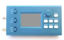 Modern digital signal oscilloscope isolated on white background Royalty Free Stock Images