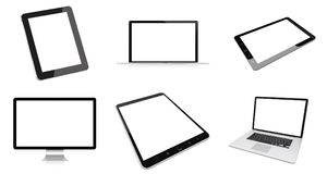 Modern digital silver tech device pack 3D rendering Stock Images