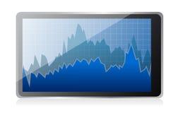 Modern digital tablet computer with stock market. Application illustration Stock Image