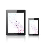 Modern digital tablet PC with mobile smartphone   on the white. Molecule and communication background. Science Stock Image