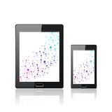 Modern digital tablet PC with mobile smartphone   on the white. Molecule and communication background. Science Stock Photography