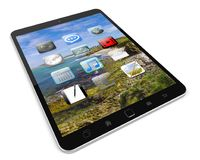 Modern digital tactile tablet 3D rendering. Modern digital tactile tablet on white background 3D rendering Royalty Free Stock Image