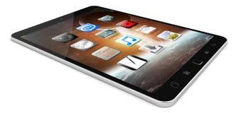 Modern digital tactile tablet 3D rendering. Modern digital tactile tablet on white background 3D rendering Royalty Free Stock Photos