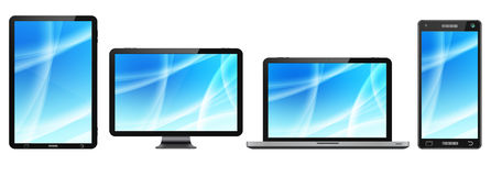 Modern digital tech device collection Royalty Free Stock Photo