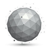 Modern digital technology ball, abstract unusual background, vec. Tor tech complicated 3d orb Royalty Free Stock Image