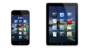 Modern digital telefon och minnestavla på vit bakgrund Arkivfoton