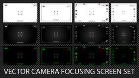 Modern digital video camera focusing screen with settings 12 in 1 pack. Royalty Free Stock Photography