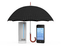 Modern Digital Wireless Home Weather Station with Mobile Phone w Royalty Free Stock Image
