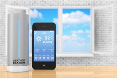 Modern Digital Wireless Home Weather Station with Mobile Phone w Royalty Free Stock Images