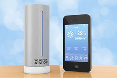 Modern Digital Wireless Home Weather Station with Mobile Phone w Royalty Free Stock Photos