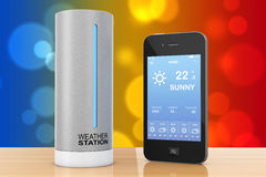 Modern Digital Wireless Home Weather Station with Mobile Phone w Stock Image