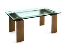 Modern dining glass table Stock Photo