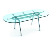 Modern dining glass table Stock Photos