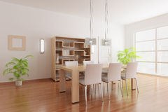 Modern dining room. 3d render interior of a modern dining room Royalty Free Stock Image