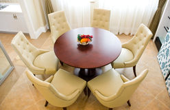 Modern dining room. And dining table Stock Photos