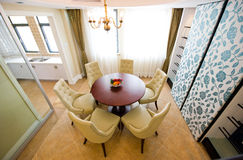 Modern dining room. Top view of modern dining room and kitchen Royalty Free Stock Images