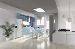 Modern dining room. 3d render Royalty Free Stock Images
