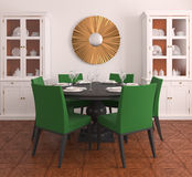 Modern dining-room. Interior of  dining-room. 3d  render Stock Images