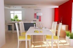 Modern dining room. 3d render interior of modern dining room Stock Images