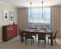 Modern dining-room. Interior of modern dining-room. 3d render Royalty Free Stock Photo