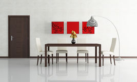Modern dining room. Contemporary dining room with wooden door - rendering Stock Images