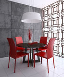 Modern dining-room. Interior. 3d render Royalty Free Stock Image