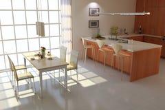 Modern dining room. 3d render interior of modern dining room Royalty Free Stock Image