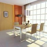 Modern dining room. 3d render interior of modern dining room Stock Photo
