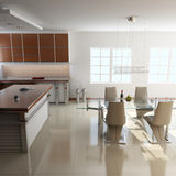Modern dining room. 3d render interior of modern dining room Royalty Free Stock Images