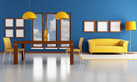 Modern dining room. Blue and orange dining room - rendering - the image on background is a my photo Stock Photos
