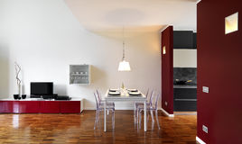 Modern dining room. With wood floor Royalty Free Stock Photos