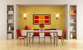 Modern dining room. Red and orange modern dining room - rendering Royalty Free Stock Images