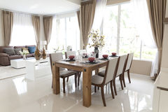 Modern dining room. Decoration and furniture of modern dining room Royalty Free Stock Images