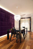 Modern dining room design. Vertical view of modern dining room design Stock Photography