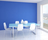 Modern dining-room interior. Modern dining-room interior with table and six white chairs near empty blue wall. 3d render Stock Photography