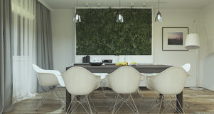 Modern dining room interior design with plants Stock Photography