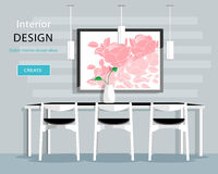 Modern dining room interior design with table, chairs, vase, picture, lamps. Flat style vector illustration Stock Image