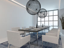 Modern dining room interior with table setting Royalty Free Stock Photo