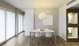 Modern dining room. Interior view of a modern dining room with wood floor Stock Photography