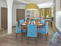 Modern dining room with kitchen in a trendy style kitsch. Royalty Free Stock Photography