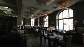 Modern Dining Room in Luxury Hotel. stock video footage