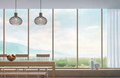 Modern dining room with mountain view 3d rendering Image Stock Photo